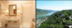 Large double rooms with bath or shower and view to the Rhine river
