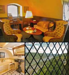 Falcon Suite with sitting room, bedroom with four-poster-bed, bath and view of the Rhine river