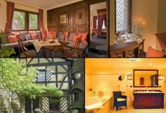 Honeymoon Suite with sitting room, bedroom with four-poster-bed, extra room, bath and view to the castle inner court